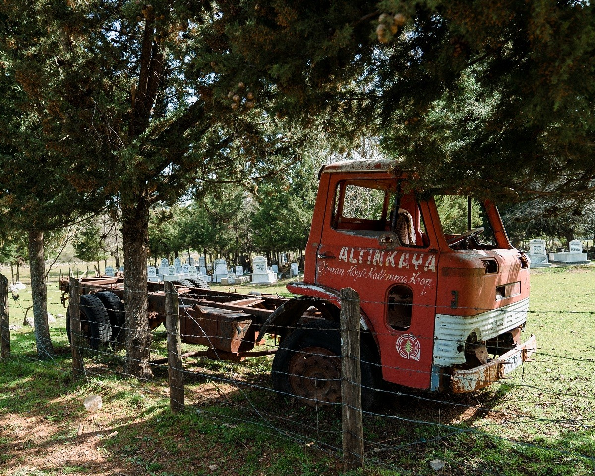 Wrecked trucks and ancient ruins in rural Turkey
